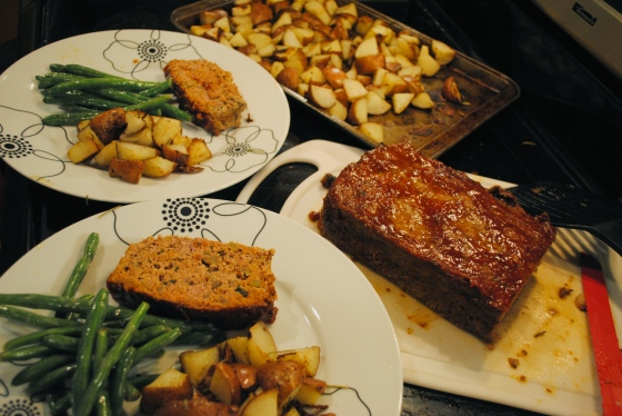 Classic Meatloaf, served with potatoes and green beans