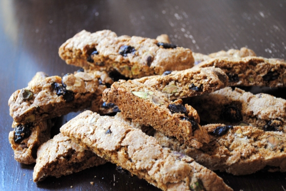 Whole Wheat Pistachio and Dried Cherry Biscotti