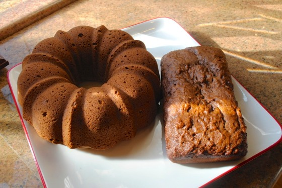 Our breads: Pumpkin Bundt and Banana Loaf