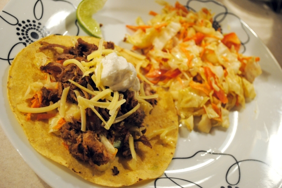 Carnitas taco with cabbage slaw
