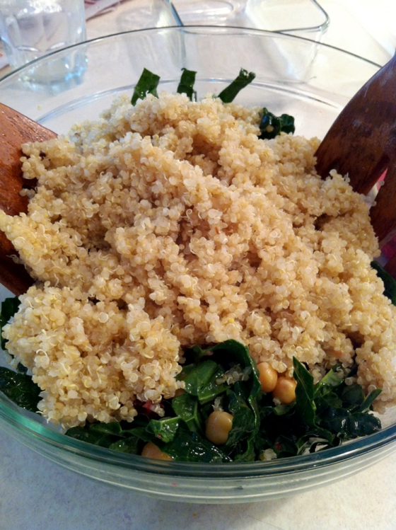 Add ~2 cups cooked quinoa