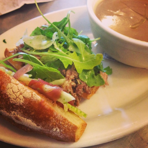Pork Sandwich and Sunchoke Soup