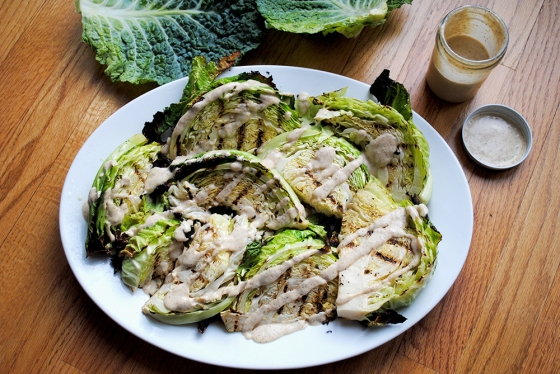Grilled Cabbage with Honey Mustard Dressing