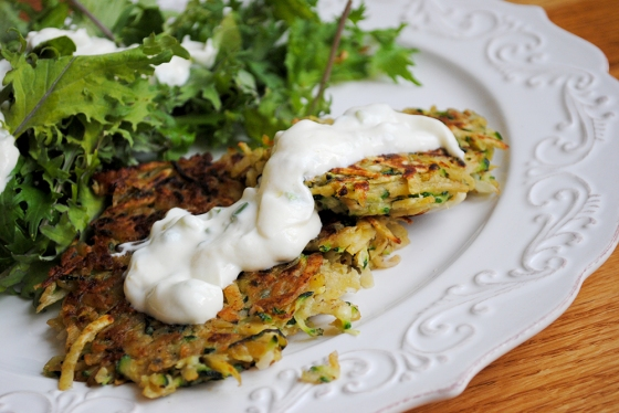 Zucchini/Sweet Potato Fritters with Yogurt Sauce