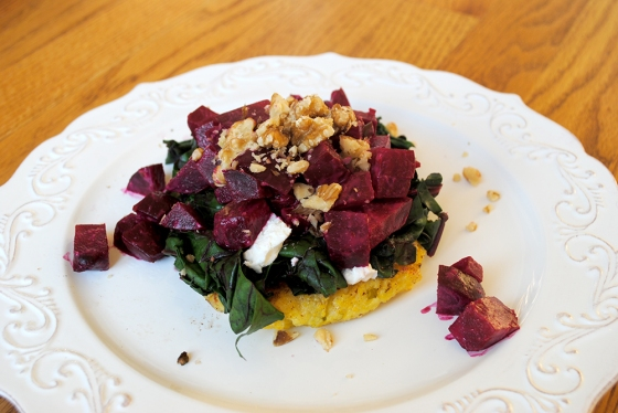 Polenta Cake, Beet Greens, Goat Cheese, Roasted beets, and Walnuts